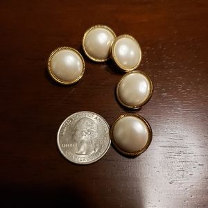 Other - 5 vintage gold faux pearl shank buttons sweater